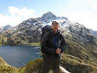 Chris with Harris lake and Mt Xenicus in background